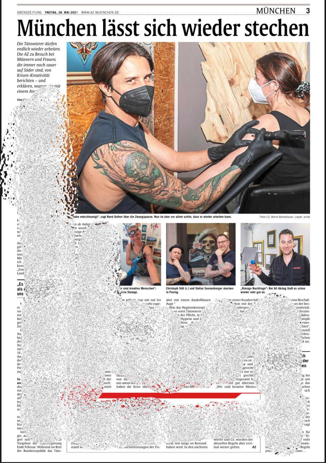 Abendzeitung Münche, Tätowierer und Tattoo Studios
